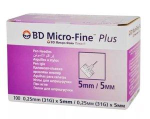 Иглы для шприц-ручки BD micro-Fine Plus 0,25мм*5мм (31G) 100 шт.