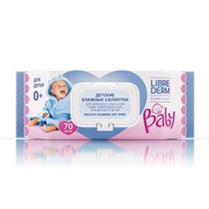 Librederm Baby Салфетки влажные для новорожденных младенцев и детей для бережного очищения кожи 70 шт.