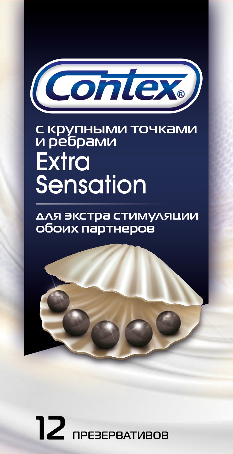 CONTEX Extra Sensation (с крупными точками и ребрами) Презервативы №12