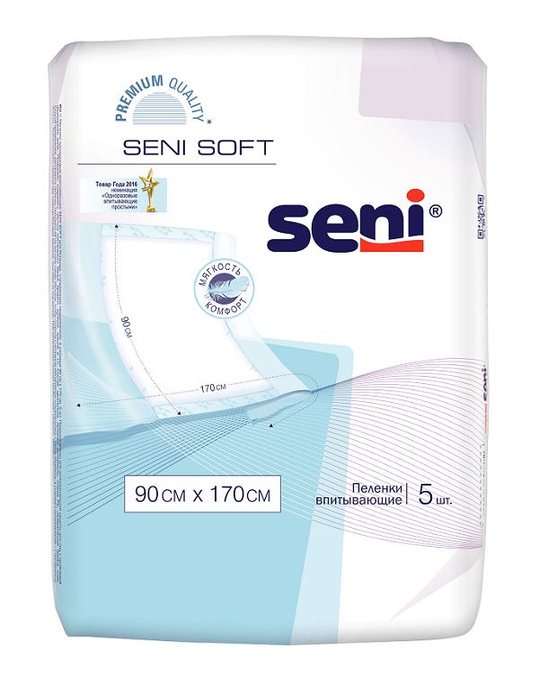 Впитывающие пеленки Seni Soft 90 x 170 см, 5 шт.