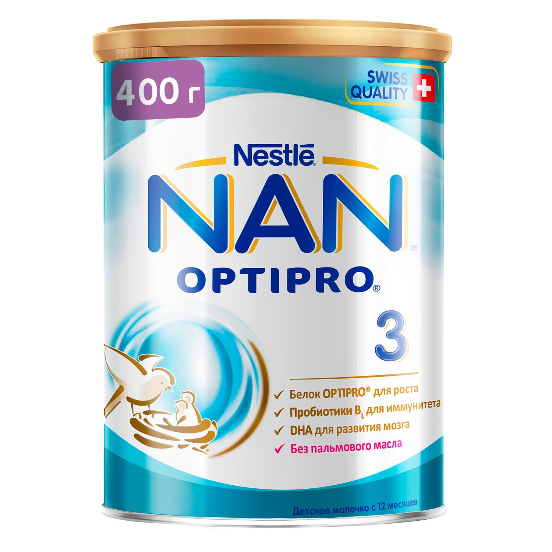 NAN 3 Optipro молочко для роста, иммунитета и развития мозга 400г с 12мес (НАН)