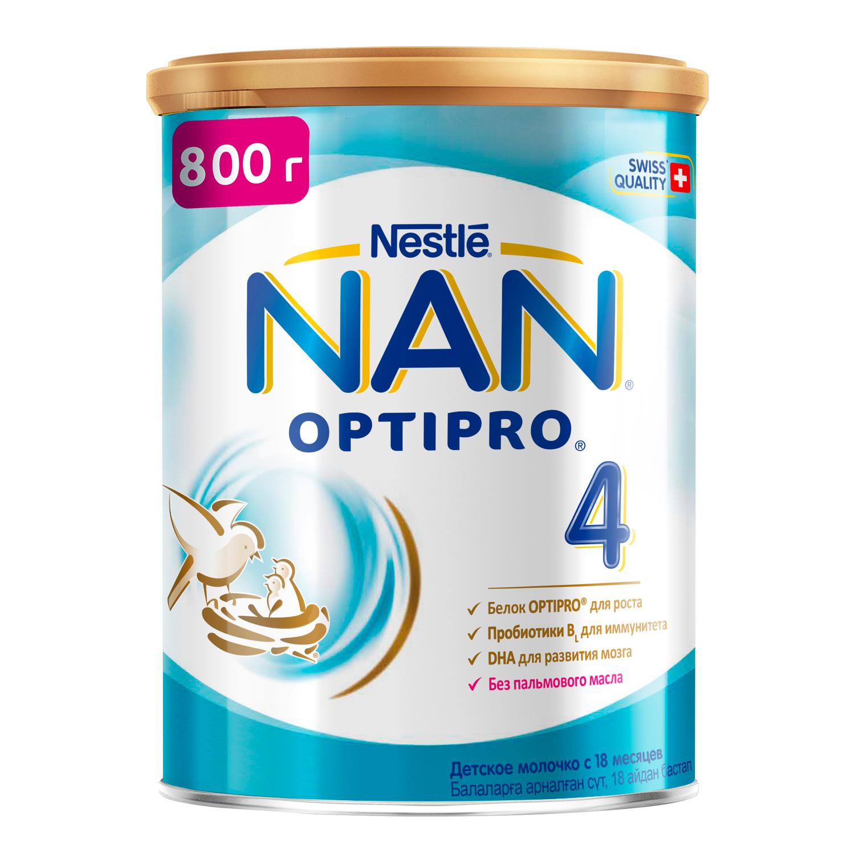 NAN 4 Optipro молочко для роста, иммунитета и развития мозга 800 г с 18мес (НАН)
