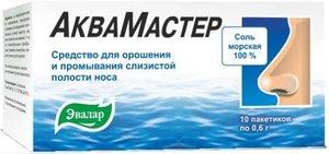 Эвалар АкваМастер Морская соль для орошения и промывания носа 0,6 г саше, 10 шт.