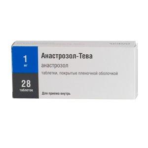Анастразол-Тева таблетки, покрытые плен. оболочкой 1 мг N28
