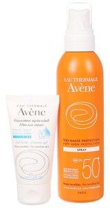 Набор Avene: детский солнцезащитный спрей SPF 50+ 200 мл + крем-гель восстанавливающий после солнца 50 мл