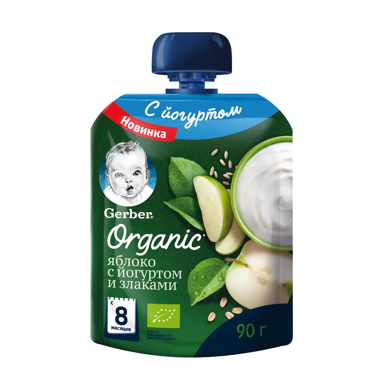 Gerber Organic Яблоко со злаками с 8мес 90г фруктово-йогуртное органическое пюре (Гербер)
