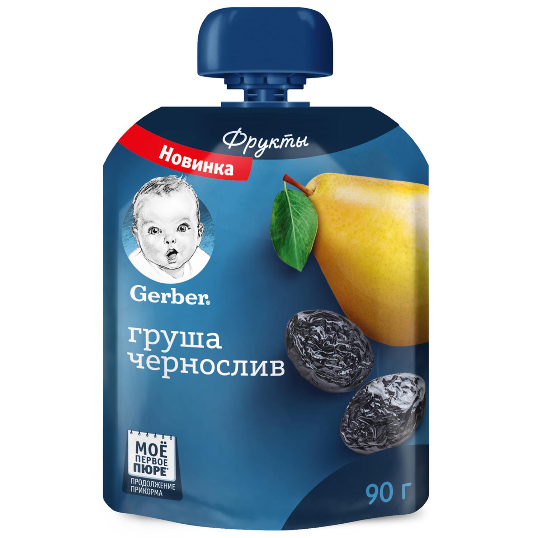 Gerber Груша, чернослив 90г фруктовое пюре в мягкой упаковке (Гербер)