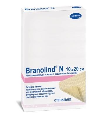 Branolind N повязка 10x20см ранозаживляющая с перуанским бальзамом N30 (Бранолинд Н)