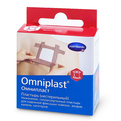 Omniplast пластырь 1,25см x 5м гипоаллергенный такневый телесного цвета нестерильный (Омнипласт)