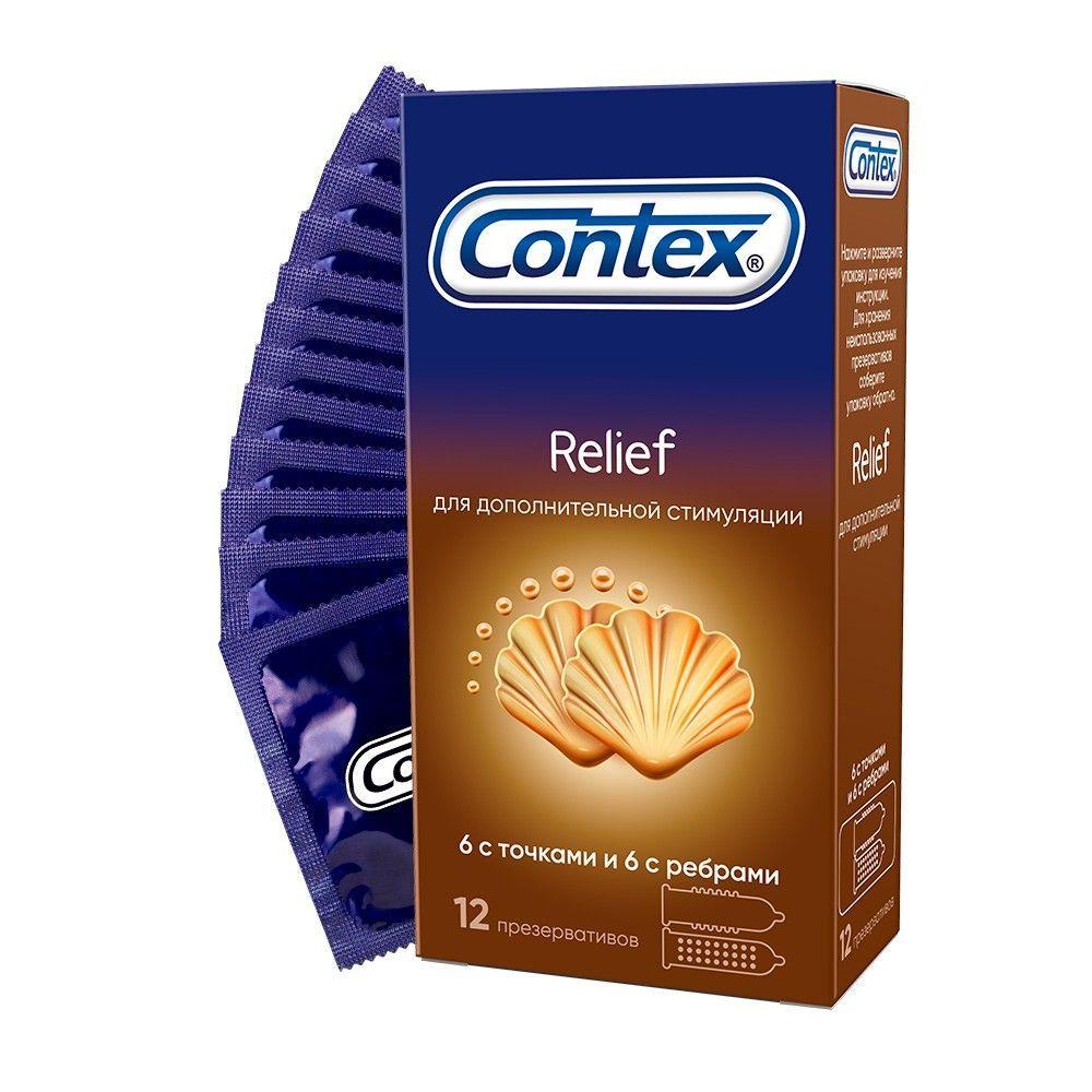 Презервативы Contex Relief N12 с ребрами и точками