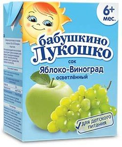 Сок Бабушкино Лукошко яблоко-виноград с 6мес., 200 мл