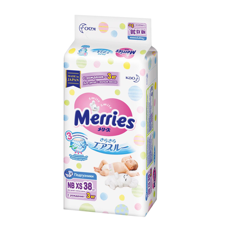 Merries Подгузники NBXS для детей с малым весом до 3кг 38 шт