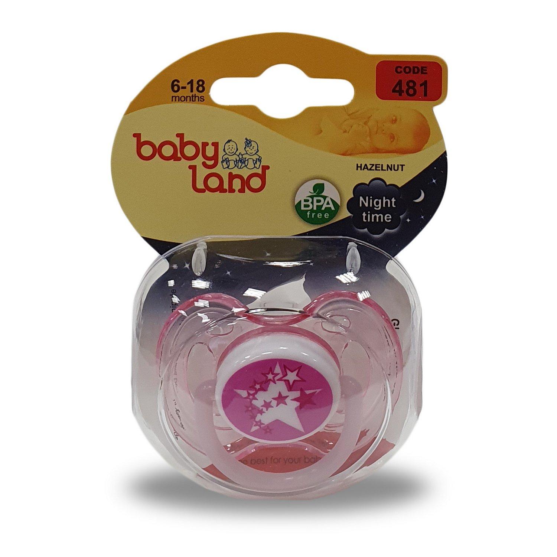 Baby Land пустышка силиконовая классик ночная 6-18мес 481
