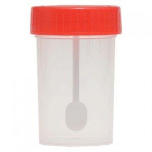 Контейнер для образцов биоматериалов стерильный c ложкой 60 мл