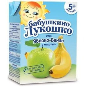 Сок Бабушкино Лукошко яблоко-банан с мякотью с 5 мес., 200 мл