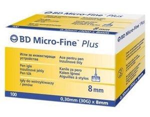 Иглы для шприц-ручки BD micro -Fine Plus 0,30мм*8мм (30G) 100 шт.