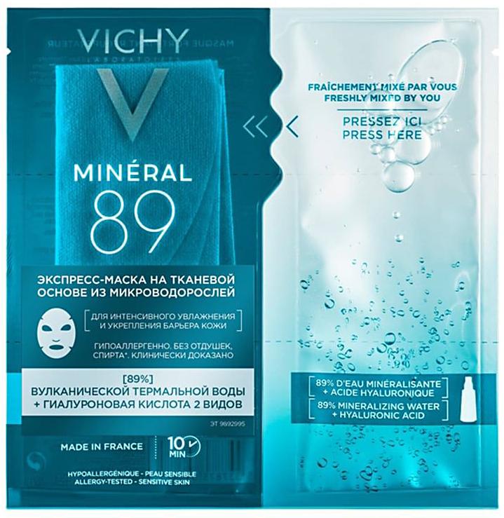 Mineral 89 маска для лица тканевая из микроводорослей для интенсивного увлажнения 1шт Vichy (Виши)