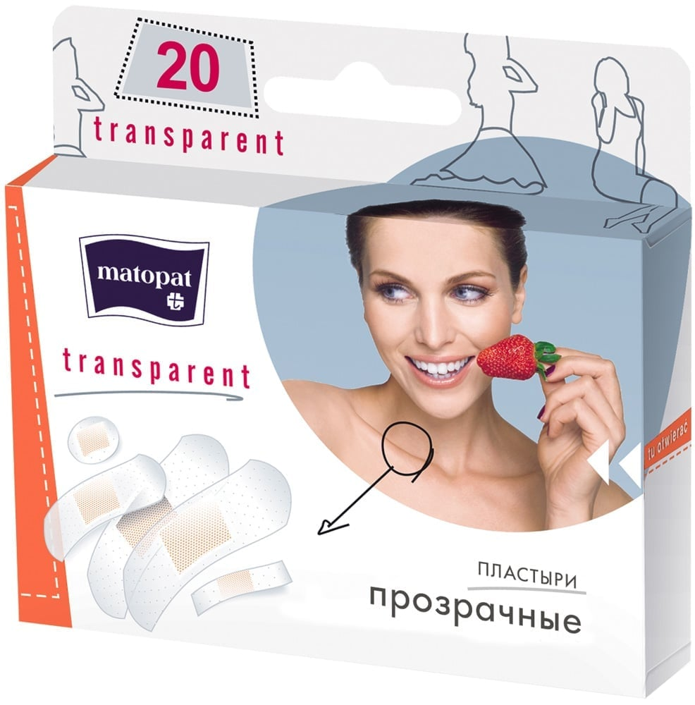 Пластыри Matopat:TRANSPARENT в наборе, 20 шт./уп.