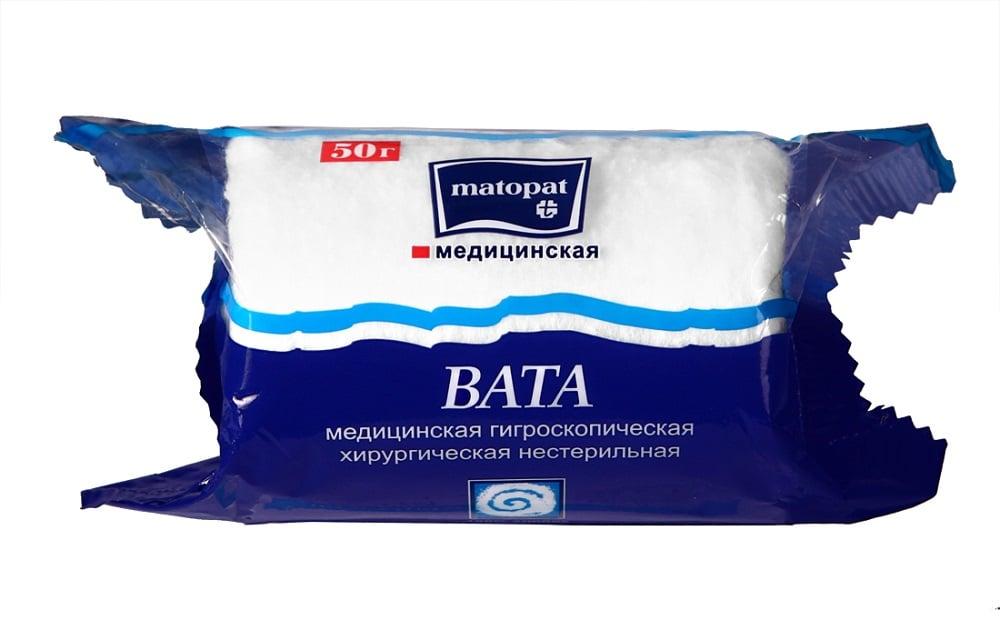 Вата Матопат хирургическая н/стер 50г