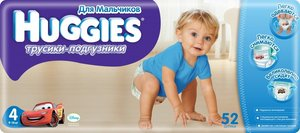 Huggies 4 Подгузники-трусики для мальчиков 9-14 кг 52 шт.
