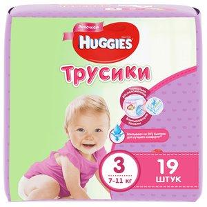 Huggies 3 Подгузники-трусики для девочек 7-11 кг 19 шт.