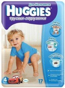 Huggies 4 Подгузники-трусики для мальчиков 9-14 кг 17 шт.